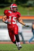 WOLFSBERG, AUSTRIA - AUGUST 20 American Football B-EC: WR Martin Vester (#15, Denmark) and his team