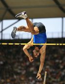 Romain Mesni France competing in the pole vault at the Istaf Berlin International Golden League Athl