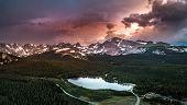 Brainard Lake Panorama At Sunset poster