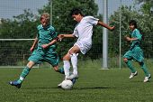 KAPOSVAR, HUNGARY - JUNE 12: Unidentified palyers in action at the Hungarian National Championship u