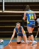KAPOSVAR, HUNGARY - DECEMBER 19: Zsanett Pinter (L) in action at the Hungarian NB I. League woman vo