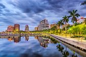 West Palm Beach, Florida, USA downtown skyline on the waterway. poster