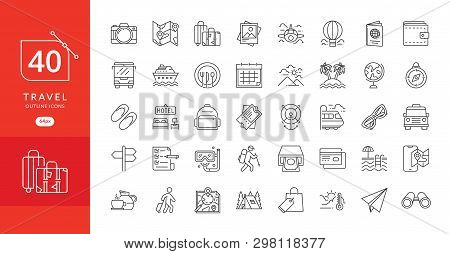 poster of Simple Travel Icons Set. Travel And Vacation Icon Set. Travel, Flight, Accommodation, Destination Bo