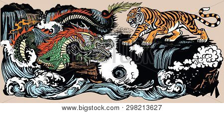 poster of Green Chinese East Asian Dragon Versus Tiger In The Landscape With Waterfall And Water Waves  . Two