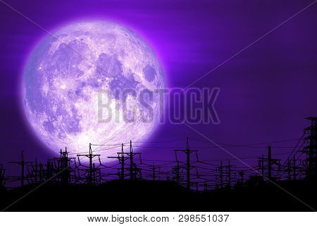 poster of Full Milk Moon Purple Back On Silhouette Electric Pole On Night Sky
