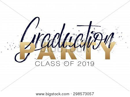poster of Graduation Label. Vector Text For Graduation Design, Congratulation Event, Party, High School Or Col