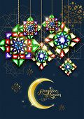 Ramadan Kareem. Abstract Girih Flower Encrusted With Color Crystals. Islamic Jewelry Ornament Design poster