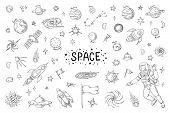 Doodle Space. Trendy Universe Pattern, Star Astronaut Meteor Rocket Comet Astronomy Elements. Vector poster