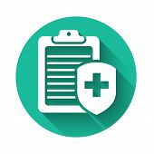 White Clipboard With Medical Insurance Icon Isolated With Long Shadow. Patient Protection. Clipboard poster