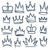 Doodle Crown. Kingdom Tiaras Crowns King Queen Corona Princess Diadem Sketch Doodle Drawn Royal Jewe poster