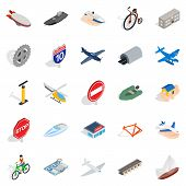 Private Flying Machine Icons Set. Isometric Set Of 25 Private Flying Machine Icons For Web Isolated  poster