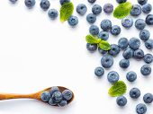 Blueberries Isolated On White Background. Blueberry Border Design. Ripe And Juicy Fresh Picked Bilbe poster