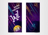 Vertical Ticket Poster For Music Festival, Jazz Show, Vector Illustration, Templates For Two Sides O poster