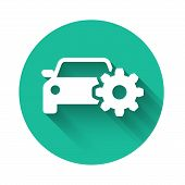White Car Service Icon Isolated With Long Shadow. Auto Mechanic Service. Mechanic Service. Repair Se poster