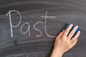 A Womans Hand Erases The Inscription Past With Chalk On A Black Board. The Concept Of Starting A Ne poster