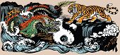 Green Chinese East Asian Dragon Versus Tiger In The Landscape With Waterfall And Water Waves  . Two  poster