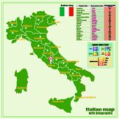 Map Of Italy With Infographic Labor Force. Colorful Illustration With Map Of Italy And Statistic. It poster