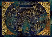 Golden Map Of Fantasy World With Dragon, Pirate Ship, Mermaid, Elf, Goblin On Blue. Hand Drawn Graph poster