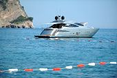 Motor yacht close by the coast