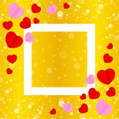 Square White Frame And Red Pink Heart Shape For Template Banner Valentines Gold Background, Many Hea poster
