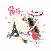 The Girl In The Hat Drinks Coffee. Fashion Model In Paris. Eiffel Tower. Romantic Composition. Elega poster