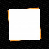 Black Banner Frame Template White And Orange Area Copy Space, Empty White Paper Style On Black Backg poster