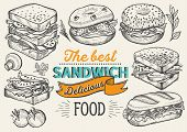 Sandwich Illustration - Bagel, Snack, Hamburger For Restaurant. Vector Hand Drawn Poster For Cafe An poster