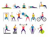 Sport Activities. Active People Making Fitness Actions Running Jumping Playing Cycling Vector Charac poster