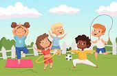 Happy Active Kids Characters. Summer Outdoor Activity - Childhood Vector Background. Illustration Of poster