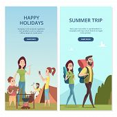 Summer Camping Vector Banners. Family Trip And Travel Illustration. Vacation Trip, Holiday And Journ poster