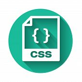 White Css File Document Icon. Download Css Button Icon Isolated With Long Shadow. Css File Symbol. G poster