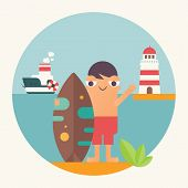 Surfing Poster. Funny Cartoon Surfer  With Surfboard, Lighthouse And Steamship. Vector Illustration. poster