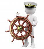 picture of rudder  - 3D Captain sailing a wooden rudder - JPG