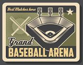 Baseball Sport Grand Arena Vintage Poster, Tournament Match Cup Game. Vector Baseball Or Softball Sp poster