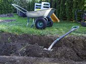 Wheel Barrow On The Land At The County With Land And Shovel poster