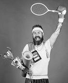 Choose Favorite Sport. Sport Concept. On Way To Achievement. Sport Shop Assortment. Man Bearded Athl poster