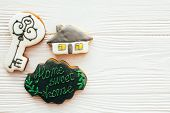 Key, House, Welcome Sign Cookies On White Wood, Flat Lay With Space For Text. Dream Home Concept. Ho poster