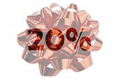 Symbol For 20 Percent Save With Text 20% Highlighted In Front Of Red Gift Ribbon poster