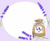 Template Or Background With Lavender Flowers And Lavender Sachet With Blue Ribbon. Hand Drawn Waterc poster