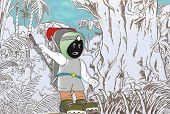 foto of muzzy  - Adventure style is muzziness in the middle of forest searching correct way - JPG