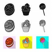 Vector Design Of Confectionery And Culinary Logo. Collection Of Confectionery And Product Vector Ico poster