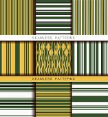 Set Of Vector Seamless Patterns. Endless Textures In Green Yellow White Black Colors. Retro Abstract poster