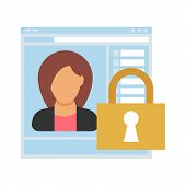 Access. Closed Access To The Site With Personal Data Of A Businesswoman. People Icon In Flat Style.  poster