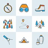 Tourism Icons Colored Line Set With Forest, Binoculars, Flashlight And Other Navigation Elements. Is poster