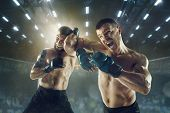 Winner Screaming. Two Professional Fighters Posing On The Sport Boxing Ring. Couple Of Fit Muscular  poster