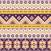 Tribal Striped Seamless Pattern. Aztec Geometric Vector Background. Can Be Used In Textile Design, W poster