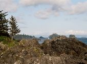 stock photo of pacific rim  - Rocky coast and a sail boat on the west coast of Vancouver island - JPG