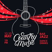 Country Music Hand Written Lettering And Guitar Poster. Typography Poster For Cards, Events, Music F poster