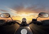 POV of motorcycle driver with handlebars. Outdoor photography. Travel and sport, speed and freedom c poster