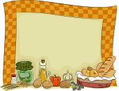 Background Illustration of a Country Kitchen with Condiments and Kitchen Essentials